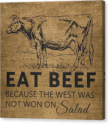 Hamburger Canvas Print - Eat Beef by Nancy Ingersoll