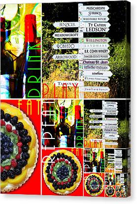 Eat Drink Play Repeat Wine Country 20140713 V3 Vertical 1 Canvas Print by Wingsdomain Art and Photography