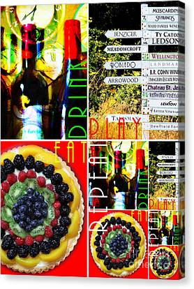 Eat Drink Play Repeat Wine Country 20140713 V3 Vertical 2 Canvas Print by Wingsdomain Art and Photography