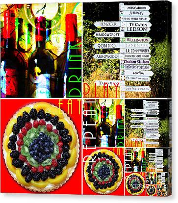 Eat Drink Play Repeat Wine Country 20140713 V3 Canvas Print by Wingsdomain Art and Photography