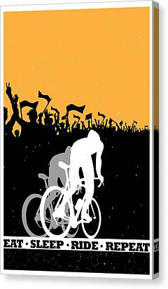 Repeat Canvas Print - Eat Sleep Ride Repeat by Sassan Filsoof