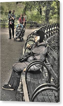 Eating Alone In Central Park Canvas Print by David Bearden