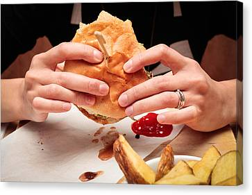 Eating Burger Canvas Print