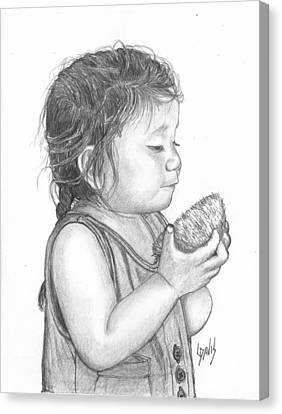 Eating Coconut Canvas Print by Lew Davis