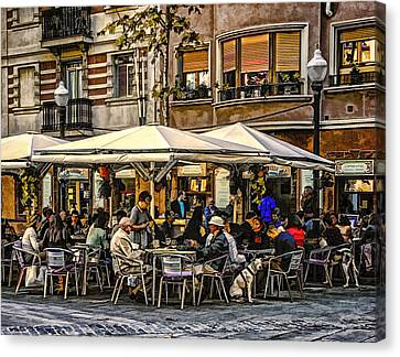 Canvas Print featuring the photograph Eating Out In Barcelona by Brian Tarr
