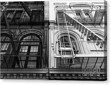 Nyc Fire Escapes Canvas Print - Ebony And Ivory Mono by John Rizzuto