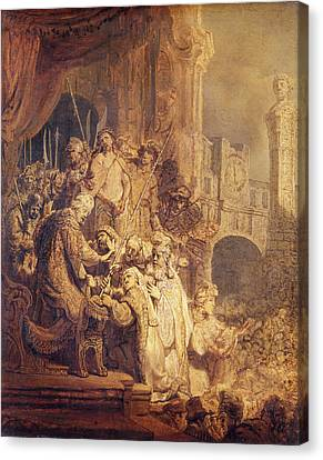 Ecce Homo, 1634 Oil On Paper Canvas Print by Rembrandt Harmensz. van Rijn