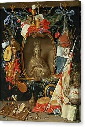 Ecclesia Surrounded By Symbols Of Vanity On Copper Canvas Print by Jan van, the Elder Kessel