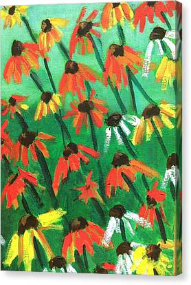 Abstracted Coneflowers Canvas Print - Echinacea by Kendall Wishnick Adams