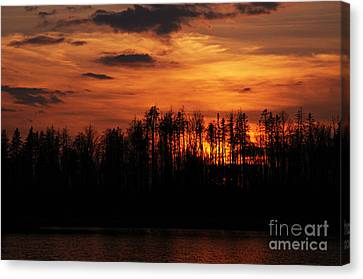 Echoes Of The Fire Canvas Print by Larry Ricker