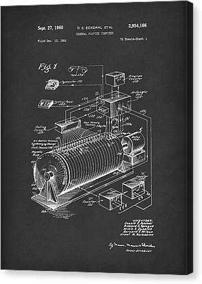 Eckdahl Computer 1960 Patent Art Black Canvas Print by Prior Art Design