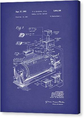 Eckdahl Computer 1960 Patent Art Blue Canvas Print by Prior Art Design