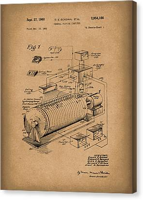 Eckdahl Computer 1960 Patent Art Brown Canvas Print by Prior Art Design