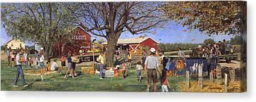 Eckert's Market Under Big Tree 1995 Canvas Print by Don  Langeneckert