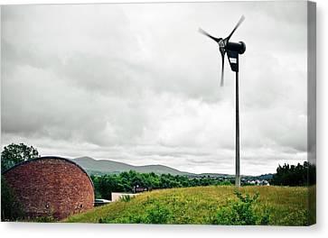 Eco-centre Wind Turbine Canvas Print by Dan Dunkley