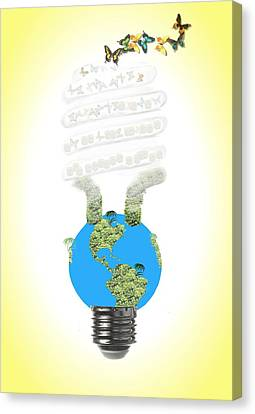 Eco Light Bulb  Canvas Print by Rudy Umans