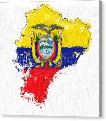 Ecuador Painted Flag Map Canvas Print by Antony McAulay