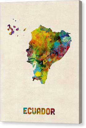 Ecuador Watercolor Map Canvas Print by Michael Tompsett