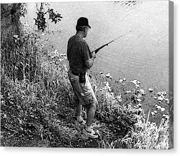 Ed Fishing Canvas Print by Lenore Senior and Sharon Burger