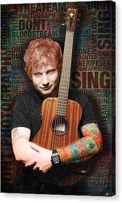 Ed Sheeran And Song Titles Canvas Print by Tony Rubino