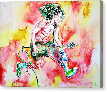 Eddie Van Halen Playing And Jumping Watercolor Portrait Canvas Print by Fabrizio Cassetta
