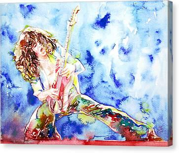 Eddie Van Halen Playing The Guitar.1 Watercolor Portrait Canvas Print by Fabrizio Cassetta