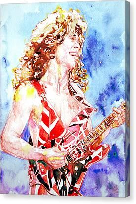 Eddie Van Halen Playing The Guitar.2 Watercolor Portrait Canvas Print by Fabrizio Cassetta