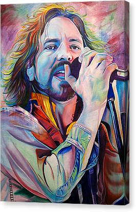 Pearl Jam Canvas Print - Eddie Vedder In Pink And Blue by Joshua Morton