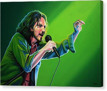Artwork On Canvas Print - Eddie Vedder Of Pearl Jam by Paul Meijering