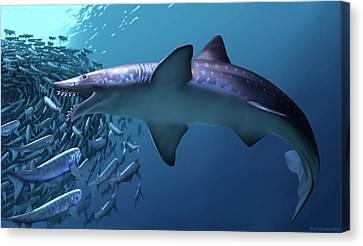 Edestus Giganteus Shark Canvas Print by Jaime Chirinos