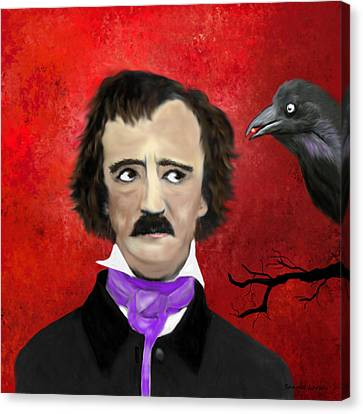 Edgar Allan Poe And The Raven Canvas Print