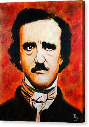 Canvas Print featuring the painting Edgar Allan Poe by Bob Baker
