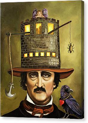 Hat Canvas Print - Edgar Allan Poe by Leah Saulnier The Painting Maniac