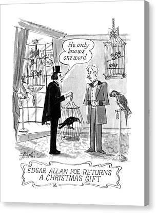 Raven Canvas Print - Edgar Allan Poe Returns A Christmas Gift by Edward Frascino