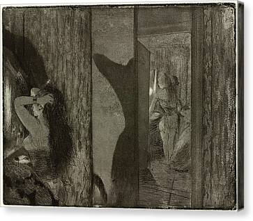 Edgar Degas, Actresses In Their Dressing Rooms Loges Canvas Print by Litz Collection