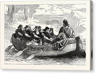 Edgar The Peaceable Being Rowed Down The Dee By Eight Canvas Print by English School