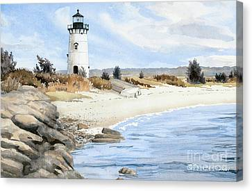 New England Lighthouse Canvas Print - Edgartown Light - Marthas Vineyard by Steve Hamlin