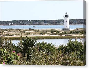 Edgartown Lighthouse With Wildflowers Canvas Print by Carol Groenen