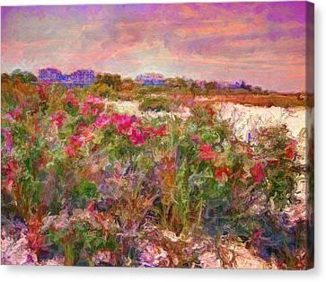 Edgartown Shoreline Roses - Horizontal  Canvas Print by Lyn Voytershark
