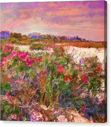 Edgartown Shoreline Roses - Square Canvas Print