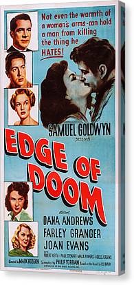 1950 Movies Canvas Print - Edge Of Doom, Us Poster, Left From Top by Everett