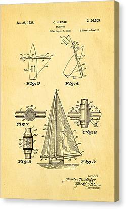 Edge Sailboat Patent Art 2 1938 Canvas Print by Ian Monk