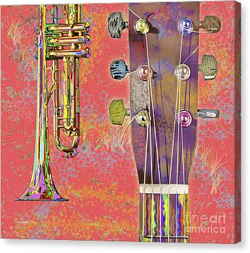 Edible Instruments On A Red Background Canvas Print by Gordon Wood