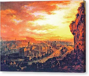 Artwork Canvas Print - Edinburgh From Calton Hill by Celestial Images