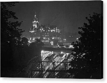 Edinburgh Night Rain Canvas Print by Bill Mock