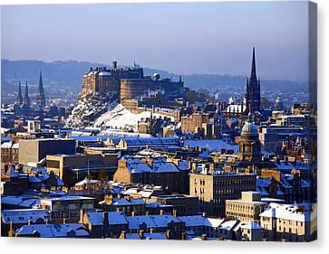 Canvas Print featuring the photograph Edinburgh Castle Winter by Craig B