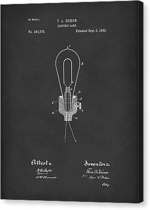 Edison Electric Lamp 1882 Patent Art Black Canvas Print by Prior Art Design