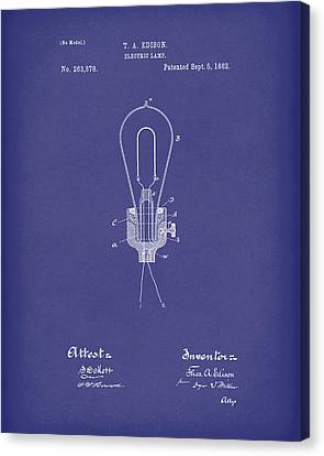 Edison Electric Lamp 1882 Patent Art Blue Canvas Print by Prior Art Design