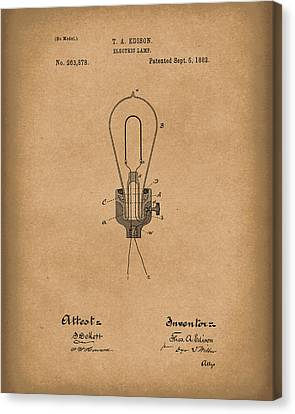 Edison Electric Lamp 1882 Patent Art Brown Canvas Print by Prior Art Design