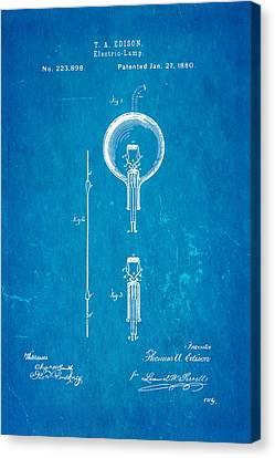 Thomas Alva Edison Canvas Print - Edison Electric Lamp Patent Art 1880 Blueprint by Ian Monk